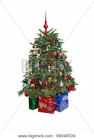 Christmas Tree With Ornaments. Isolated.