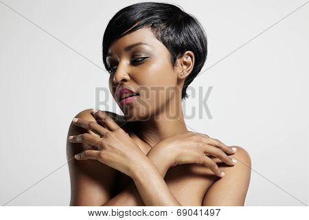 Black Woman With A Hands On Her Shoulders