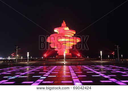 Wusi square of Qingdao at night, China