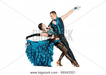 Beautiful professional dancers perform tango dance with passion and expression. Isolated over white.