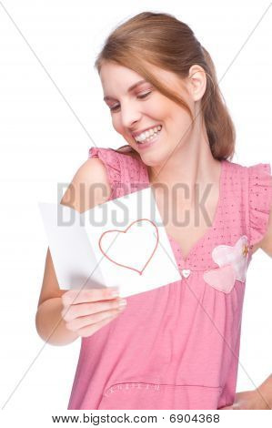 Woman With Greeting Card