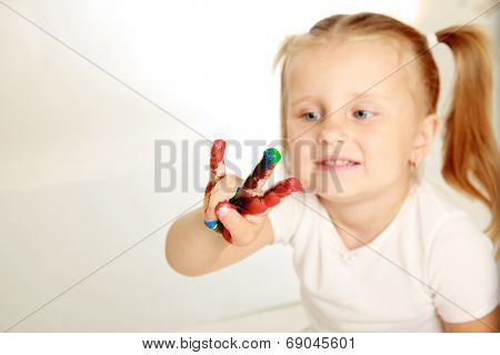 Child painting , isolated on white