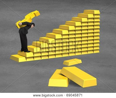 Carrying 3D Golden Money On Bullion Stairs