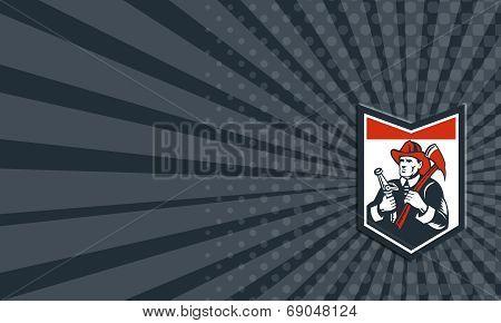 Business Card Fireman Firefighter Carry Axe Hose Shield Woodcut