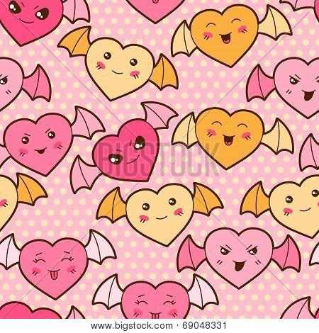 Seamless kawaii cartoon pattern with cute hearts.