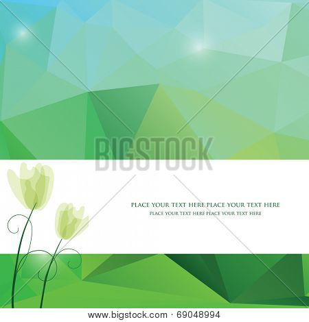Spring triangle pattern in green and blue colors. Vector background for web and mobile design. Corporate style and identity version.  Wallpapers, website and banners design.Tulip flower.