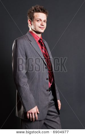 Successful Businessman In Grey Suit