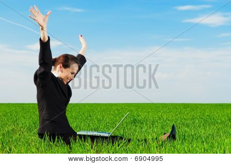 Successful Businesswoman With Computer