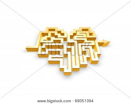 Gold Heart Maze Path
