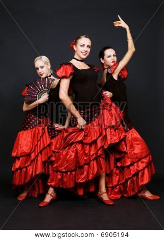 Three Dancers In Spanish Dresses