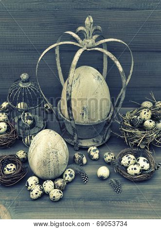 Vintage Easter Decoration. Retro Style Toned