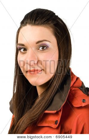 Young Beautiful Woman In Red Jacket