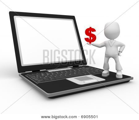 Red Dollar And Laptop