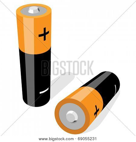 Illustration of two AA-size batteries isolated on white background. No gradients or effects.