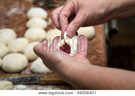 Woman Hands Making Cakes With Berries