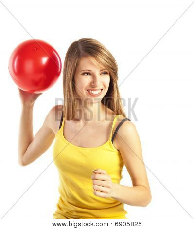 Blond Girl With Red Ball
