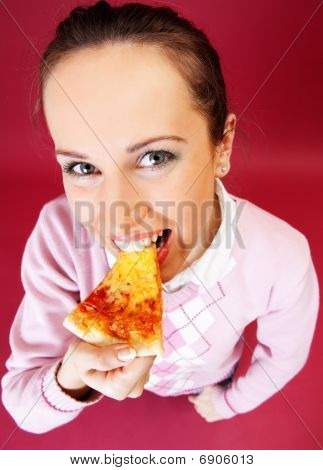 Woman Eating Appetizing Pizza