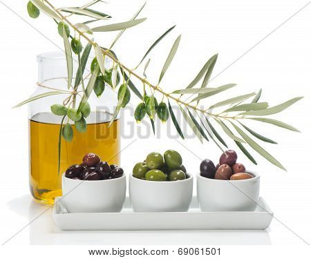 Different Kind Of Olives And Branch Of Olive Tree With Drops, Olive Oil