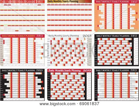 Vector Of Daily Monthly Yearly 2015 Planning Chart Set