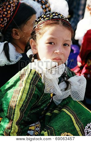 Ashgabat, Turkmenistan - August 26.  Portrait Of  Young  Unidentified  Asian Gerl. Gerl In Tradition