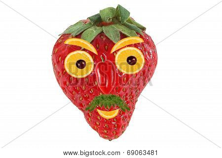 Funny Portrait Of A Man Made of Strawberry And Orange