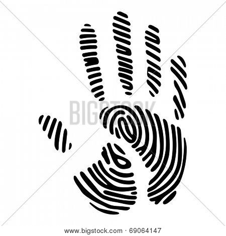 black handprint with fingerprint pattern
