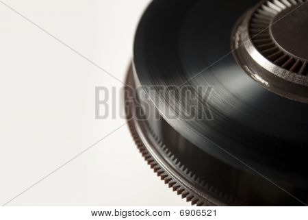 Closeup On Reel Of Black Backup Magnetic Tape