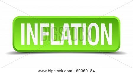 Inflation Green 3D Realistic Square Isolated Button