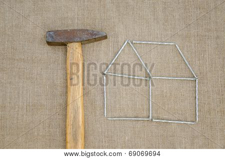 Hammer And Outbuilding Form Of Nail Linen Texture
