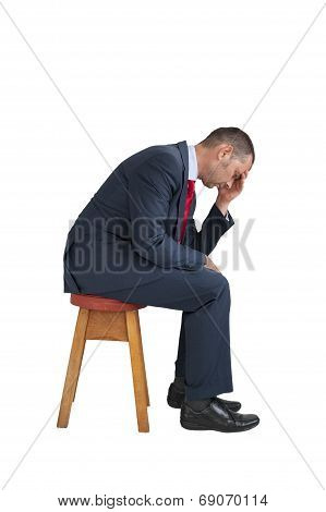Depressed Businessman Seated Isolated White Background