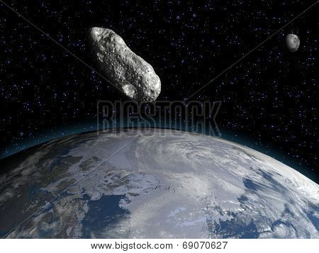 Asteroid, the earth and the moon