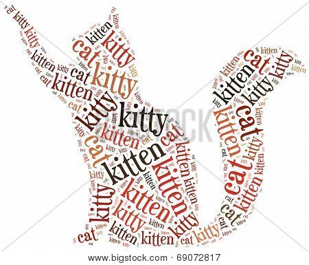 Word Cloud Illustration Funny Cat Related.