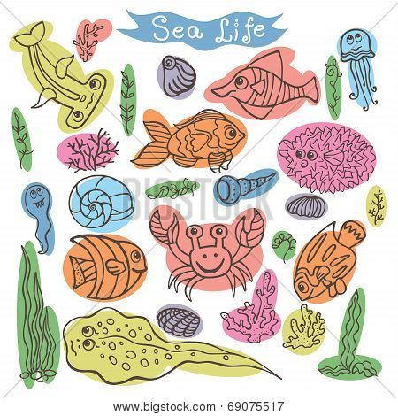 Funny Sea Life.Colored outline Doodle set