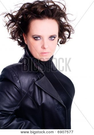 Brunette Vamp Woman Over White Background