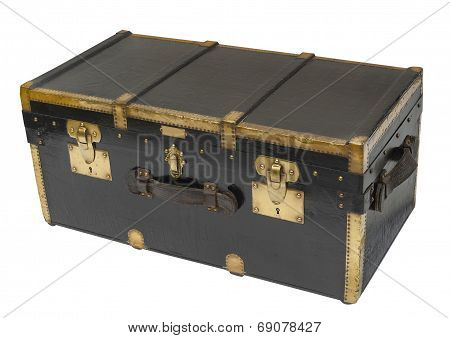Antique steamer trunk, isolated