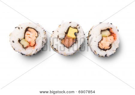 Uramaki on white background