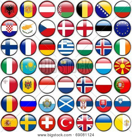 All European Flags - circle glossy buttons. Every button is isolated on white background