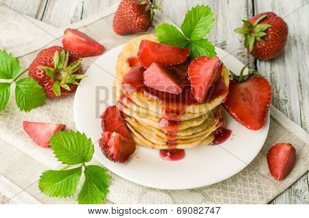 Pancakes With Jam And Fresh Strawberries