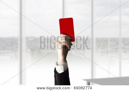 Hand Holding Red Card Burnout