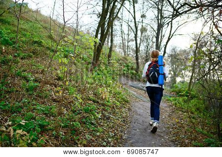 Woman Hiker Walking The Mountain Trail In Weekend