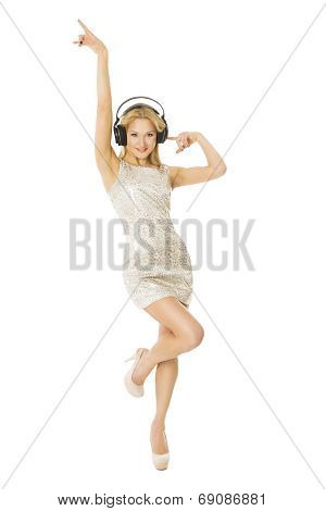 Woman In Headpnones Dancing Listening To Music. Girl Isolater Over White Background, Showing Somethi