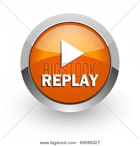 replay orange glossy web icon
