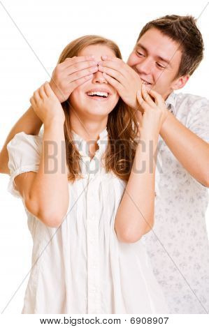 Young Man Close Eyes His Girlfriend