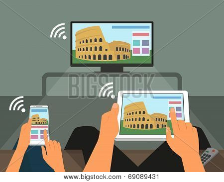 Multiscreen interaction. Man and woman are participating in TV show using smartphone and tablet pc
