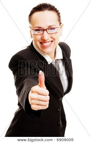 Young Smiley Businesswoman Showing Thumbs Up