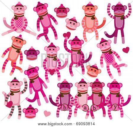 Collection of Girly Themed Sock Monkey Vectors