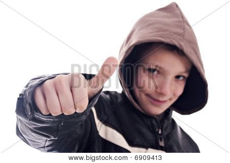 Young Man, With Sign Of  Ok