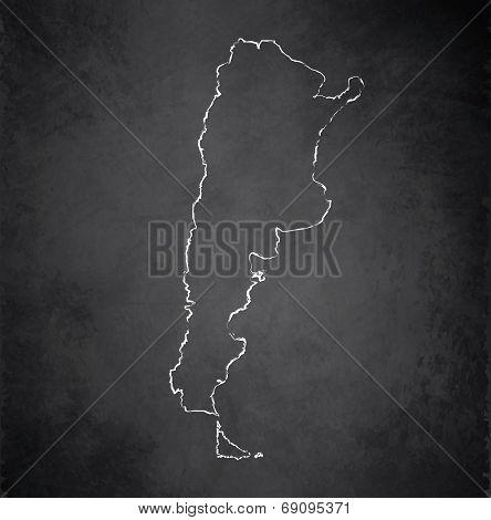 Argentina map blackboard chalkboard raster