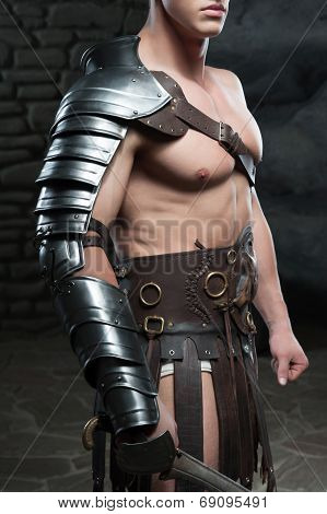 Gladiator with sword posing