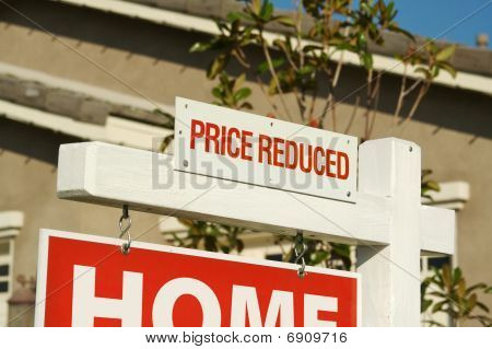 Price Reduced Real Estate Sign & New Home